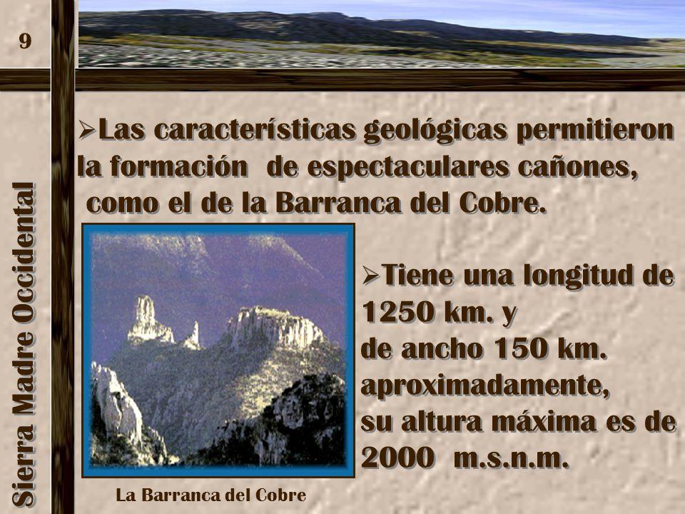 Sierra Madre Occidental Esta sierra es producto de la acumulación de materiales volcánicos. Esta sierra es producto de la acumulación de materiales vo