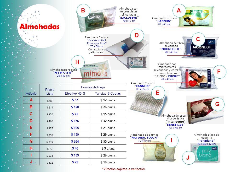 Almohadas Artículo Precio Lista Formas de Pago Efectivo 40 %Tarjetas 6 Cuotas A $ 96 $ 57$ 12 c/una B $ 214 $ 128$ 26 c/una C $ 120 $ 72$ 15 c/una D $