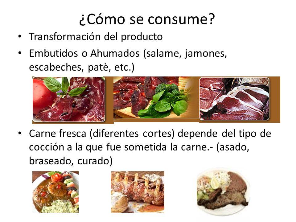 ¿Cómo se consume? Transformación del producto Embutidos o Ahumados (salame, jamones, escabeches, patè, etc.) Carne fresca (diferentes cortes) depende