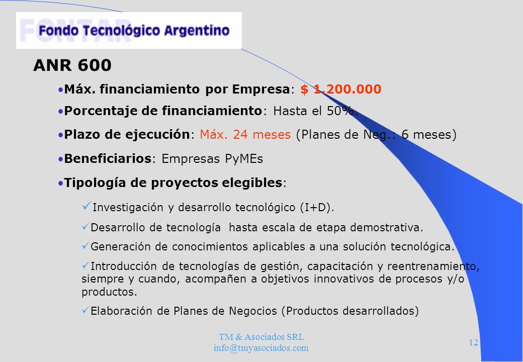 TM & Asociados SRL info@tmyasociados.com 12 ANR 600 Máx. financiamiento por Empresa: $ 1.200.000 Porcentaje de financiamiento: Hasta el 50%. Plazo de