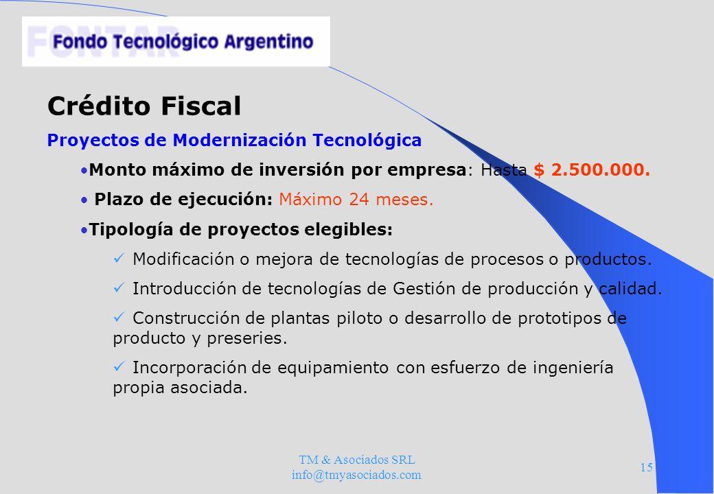 TM & Asociados SRL info@tmyasociados.com 15 Crédito Fiscal Proyectos de Modernización Tecnológica Monto máximo de inversión por empresa: Hasta $ 2.500