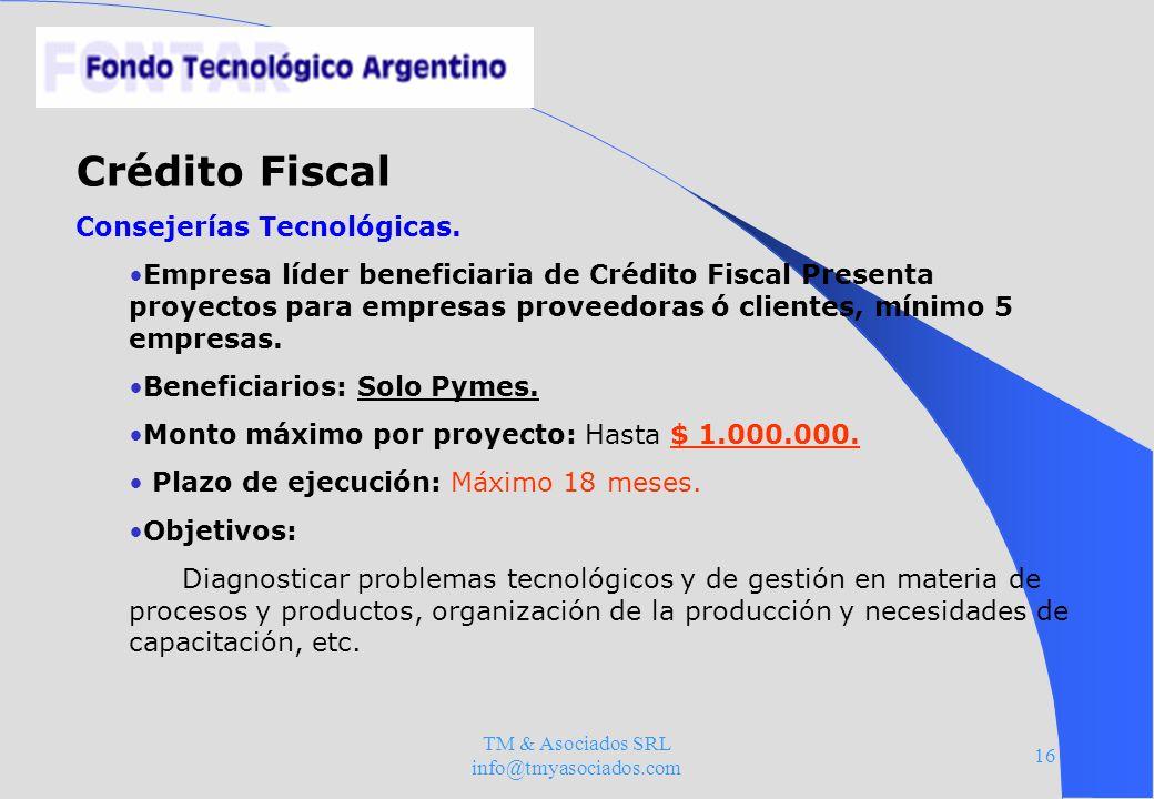TM & Asociados SRL info@tmyasociados.com 16 Crédito Fiscal Consejerías Tecnológicas. Empresa líder beneficiaria de Crédito Fiscal Presenta proyectos p
