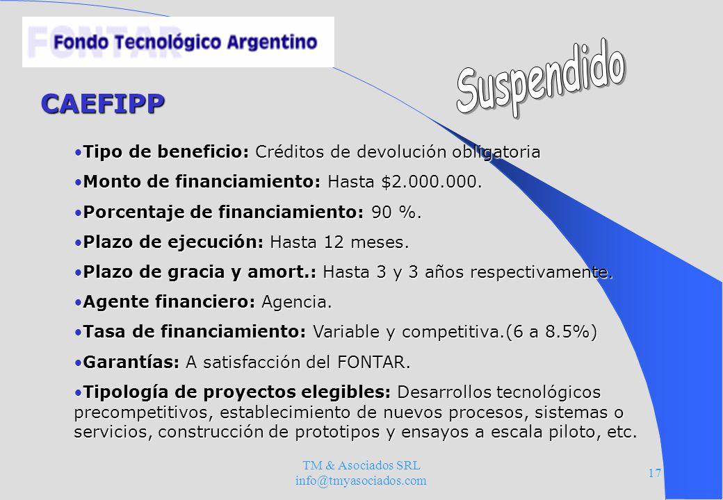 TM & Asociados SRL info@tmyasociados.com 17 CAEFIPP Tipo de beneficio: Créditos de devolución obligatoriaTipo de beneficio: Créditos de devolución obl