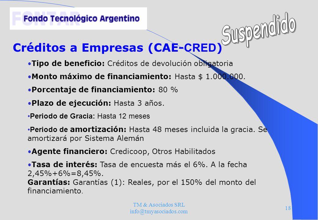 TM & Asociados SRL info@tmyasociados.com 18 Créditos a Empresas (CAE- CRED ) Tipo de beneficio: Créditos de devolución obligatoria Monto máximo de fin