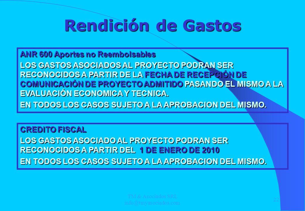 TM & Asociados SRL info@tmyasociados.com 22 Rendición de Gastos CREDITO FISCAL LOS GASTOS ASOCIADO AL PROYECTO PODRAN SER RECONOCIDOS A PARTIR DEL 1 D
