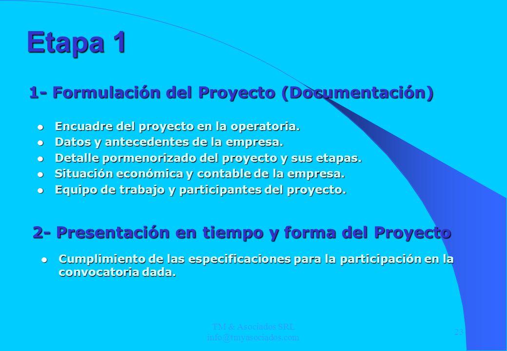 TM & Asociados SRL info@tmyasociados.com 23 Etapa 1 Encuadre del proyecto en la operatoria. Encuadre del proyecto en la operatoria. Datos y antecedent