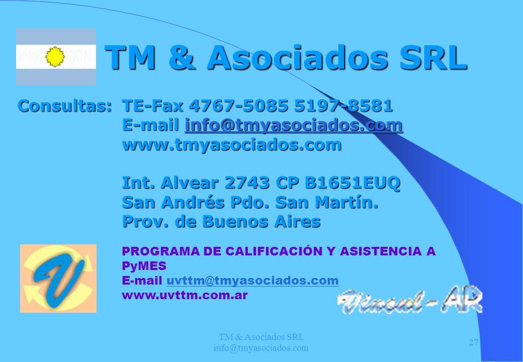 TM & Asociados SRL info@tmyasociados.com 27 TM & Asociados SRL TE-Fax 4767-5085 5197-8581 E-mail info@tmyasociados.com info@tmyasociados.com www.tmyas