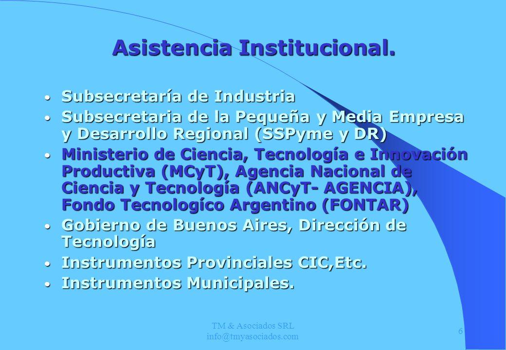 TM & Asociados SRL info@tmyasociados.com 6 Asistencia Institucional. Subsecretaría de Industria Subsecretaría de Industria Subsecretaria de la Pequeña
