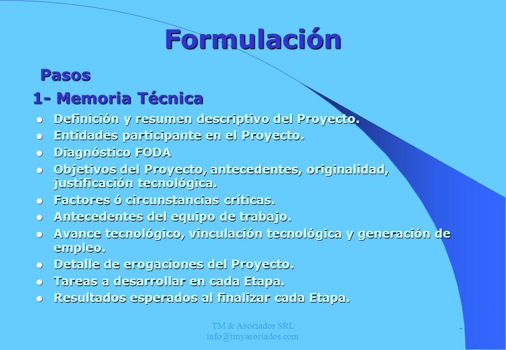 TM & Asociados SRL info@tmyasociados.com 7 Formulación Definición y resumen descriptivo del Proyecto. Definición y resumen descriptivo del Proyecto. E