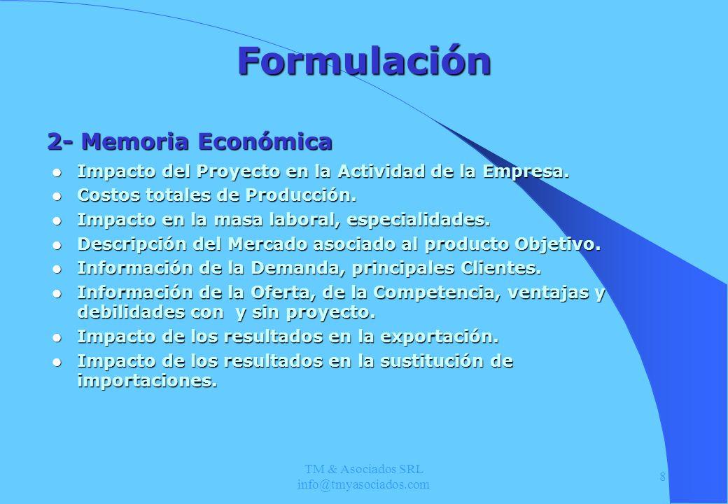 TM & Asociados SRL info@tmyasociados.com 8 Formulación Impacto del Proyecto en la Actividad de la Empresa. Impacto del Proyecto en la Actividad de la