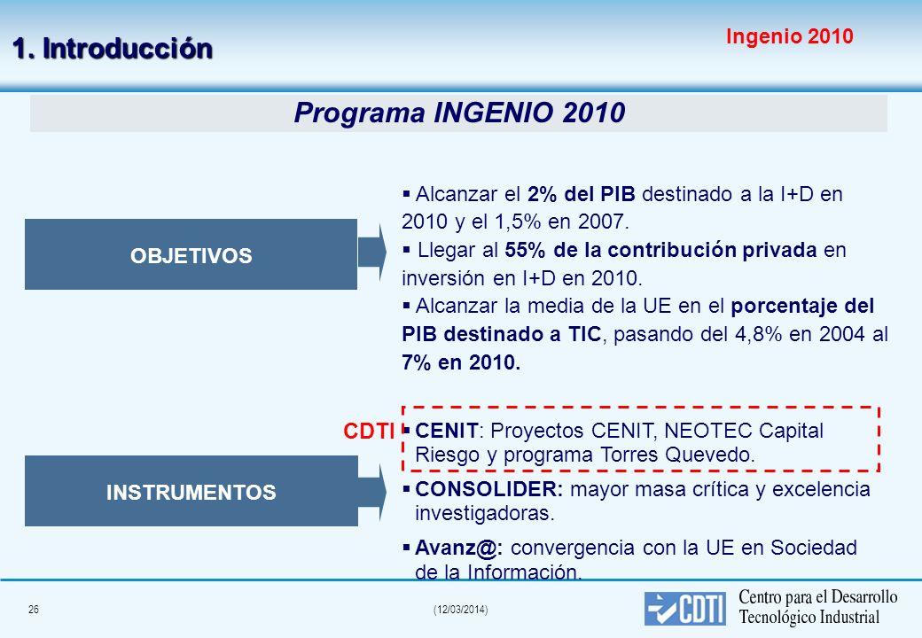25(12/03/2014) 1. Introducción Según la OCDE, España, en el ámbito de la política científica y tecnológica, necesita un mayor impulso en los instrumen