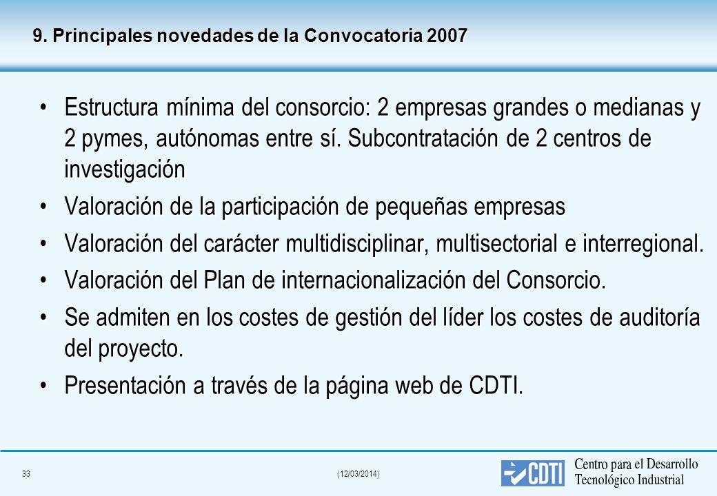 32(12/03/2014) 7. Modalidad y cuantía de la financiación CDTI El CDTI desembolsará la ayuda total aprobada al lider del proyecto, el cual coordinará s
