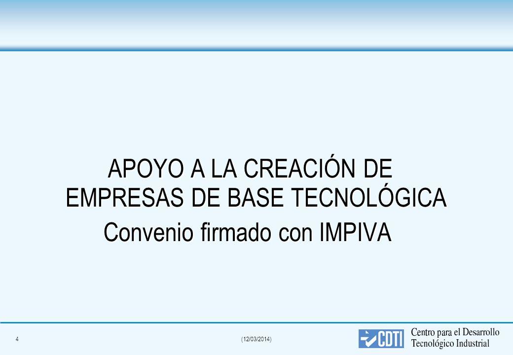 4(12/03/2014) APOYO A LA CREACIÓN DE EMPRESAS DE BASE TECNOLÓGICA APOYO A LA CREACIÓN DE EMPRESAS DE BASE TECNOLÓGICA Convenio firmado con IMPIVA