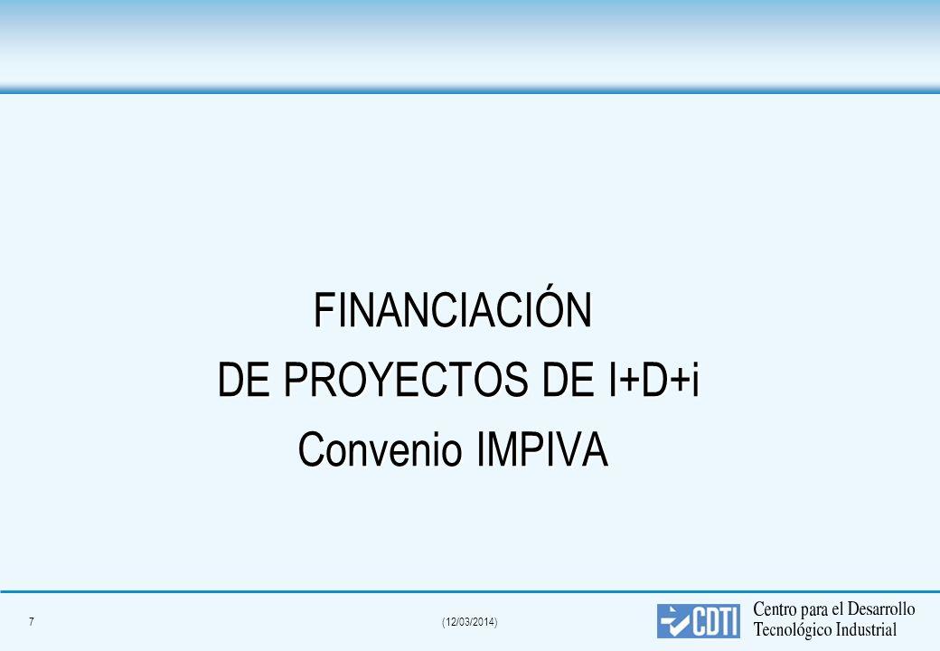 7(12/03/2014) FINANCIACIÓN DE PROYECTOS DE I+D+i DE PROYECTOS DE I+D+i Convenio IMPIVA