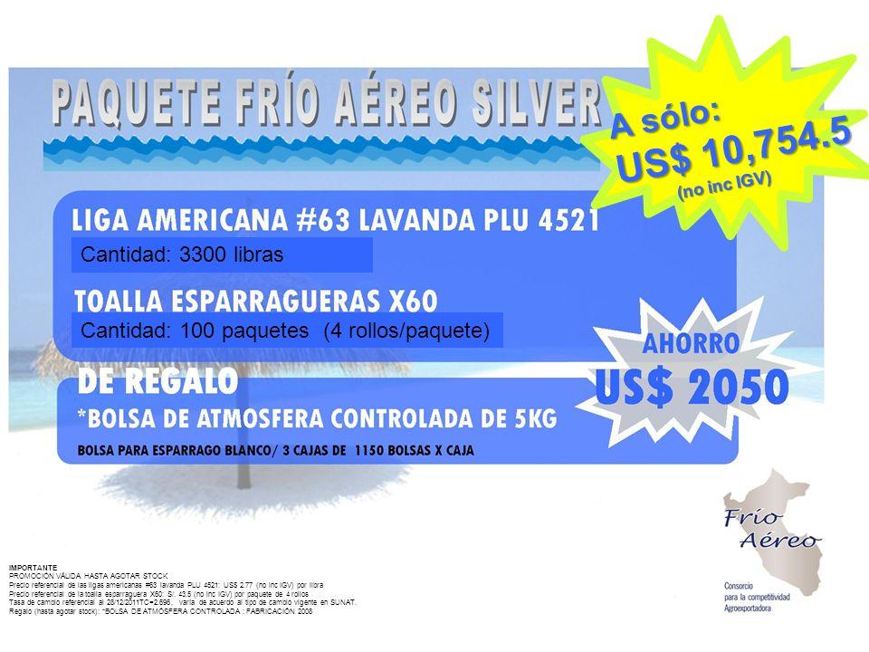 IMPORTANTE PROMOCIÓN VÁLIDA HASTA AGOTAR STOCK Precio referencial de las ligas americanas #63 lavanda PLU 4521: US$ 2.77 (no inc IGV) por libra Precio referencial de la toalla esparraguera X60: S/.