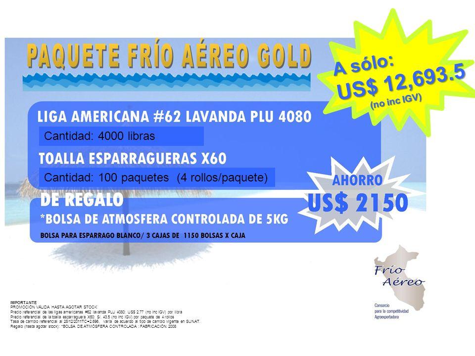IMPORTANTE PROMOCIÓN VÁLIDA HASTA AGOTAR STOCK Precio referencial de las ligas americanas #62 lavanda PLU 4080: US$ 2.77 (no inc IGV) por libra Precio