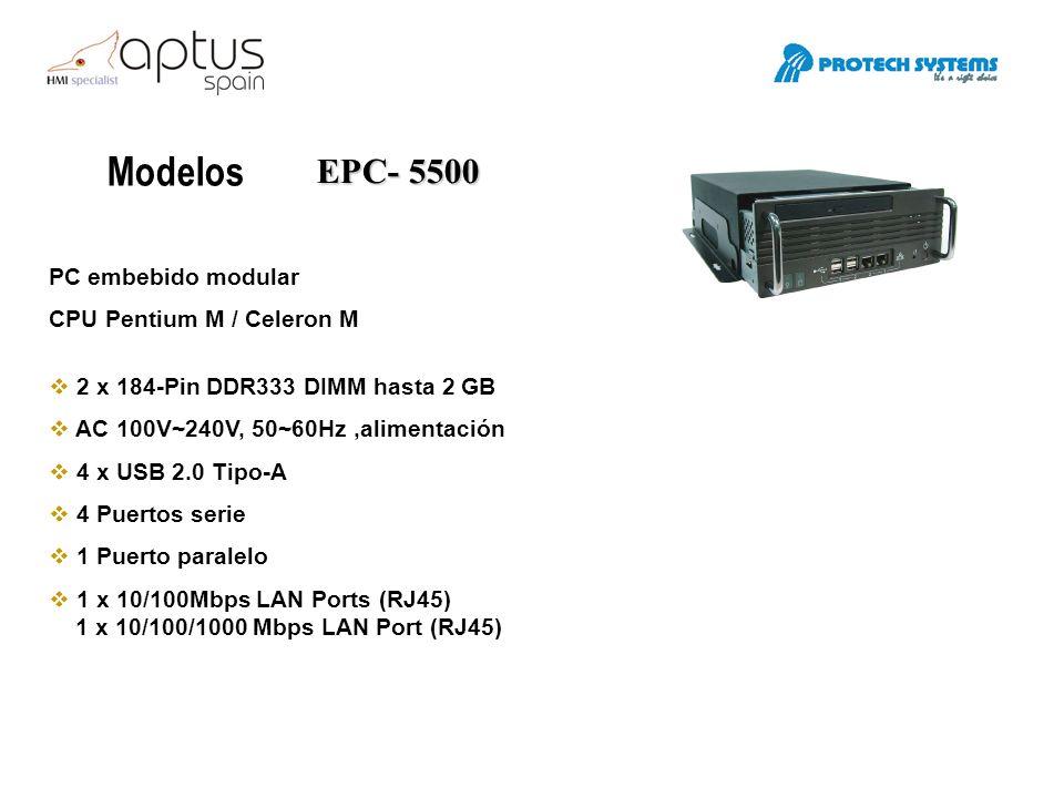Modelos EPC- 7500 PC embebido CPU Zocalo 479, soporta Pentium M hasta 2.1GHz 1x 200-pin DDR2/533 SO-DIMM, hasta 1GB DC 16~36V, 100Watt 2 x USB 2.0 Tipo-A 2 Puertos serie 1 x CF tipo II slot 1 x 10/100Mbps LAN Ports (RJ45) 1 x 10/100/1000 Mbps LAN Port (RJ45) 2.5 / 3.5 HDD 1 x PCMCIA cardbus slot
