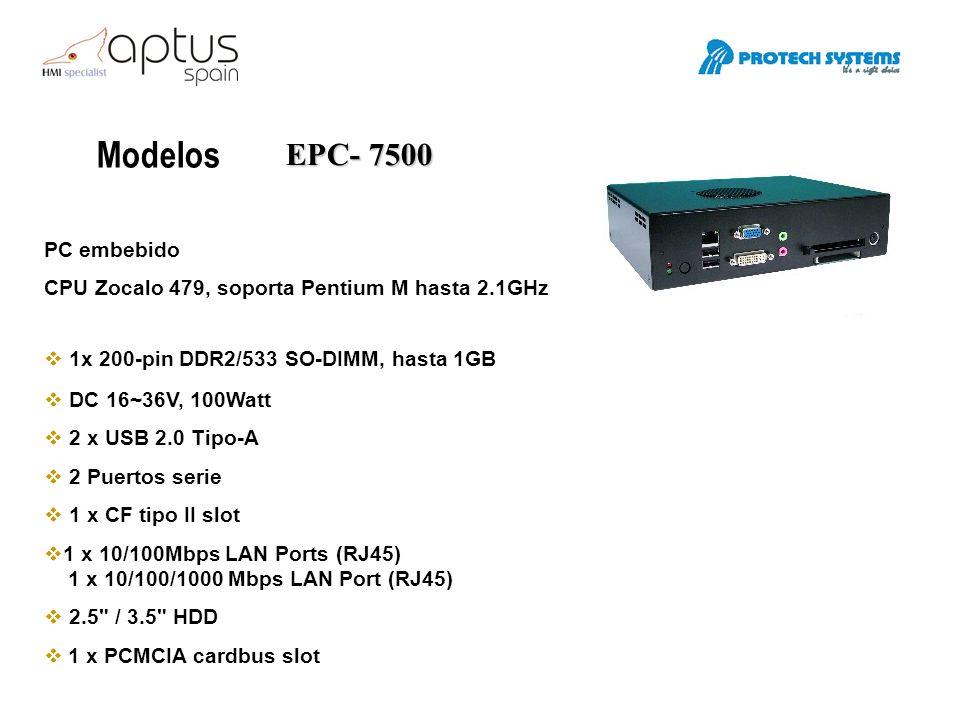 Modelos EPC- 8600 PC embebido CPU Celeron M hasta 1 GHz.
