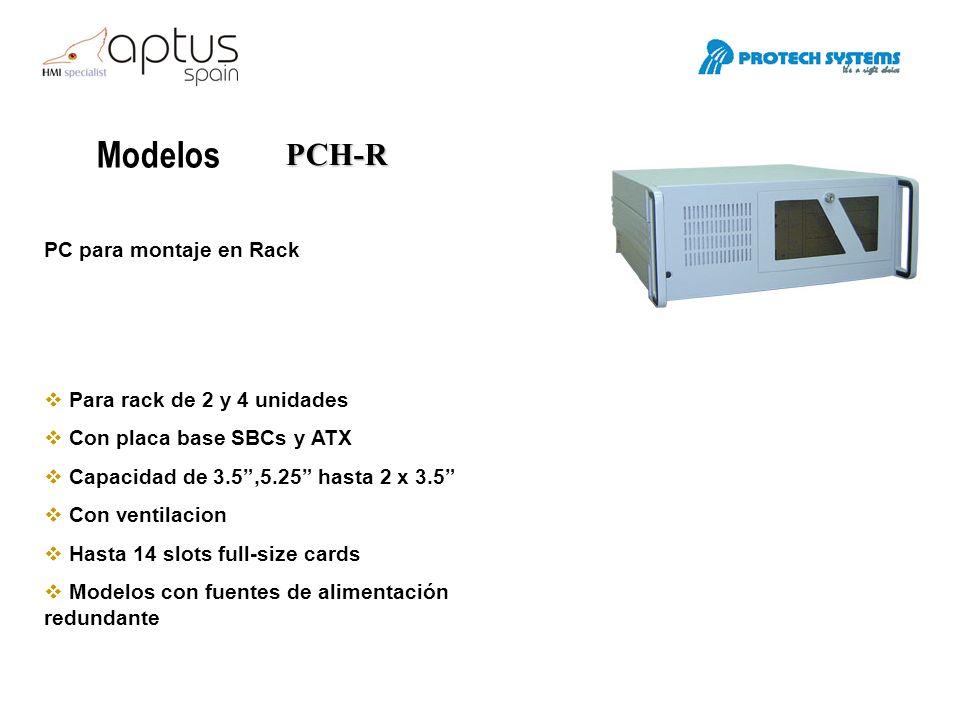 Modelos PCH-R PC para montaje en Rack Para rack de 2 y 4 unidades Con placa base SBCs y ATX Capacidad de 3.5,5.25 hasta 2 x 3.5 Con ventilacion Hasta