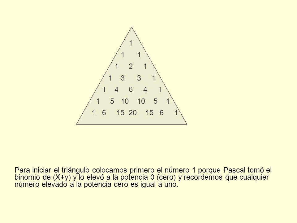 Para iniciar el triángulo colocamos primero el número 1 porque Pascal tomó el binomio de (X+y) y lo elevó a la potencia 0 (cero) y recordemos que cualquier número elevado a la potencia cero es igual a uno.