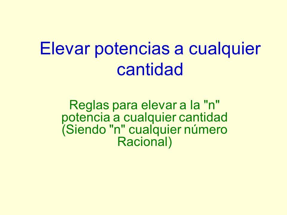 Elevar potencias a cualquier cantidad Reglas para elevar a la n potencia a cualquier cantidad (Siendo n cualquier número Racional)