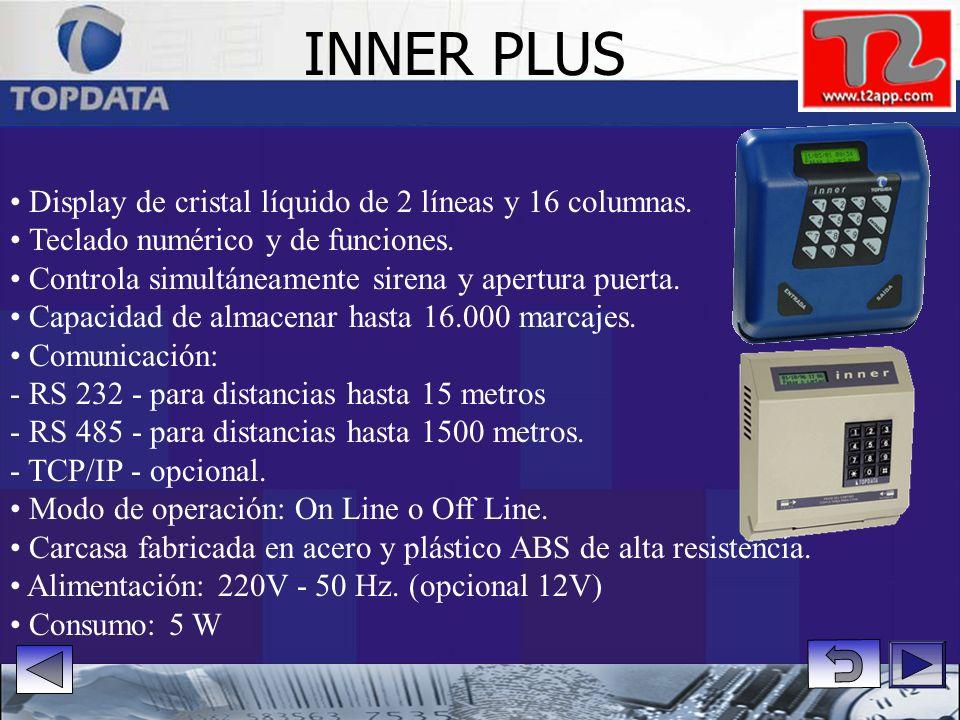 Display de cristal líquido de 2 líneas y 16 columnas. Teclado numérico y de funciones. Controla accionamiento sirena o apertura puertas. Comunicación: