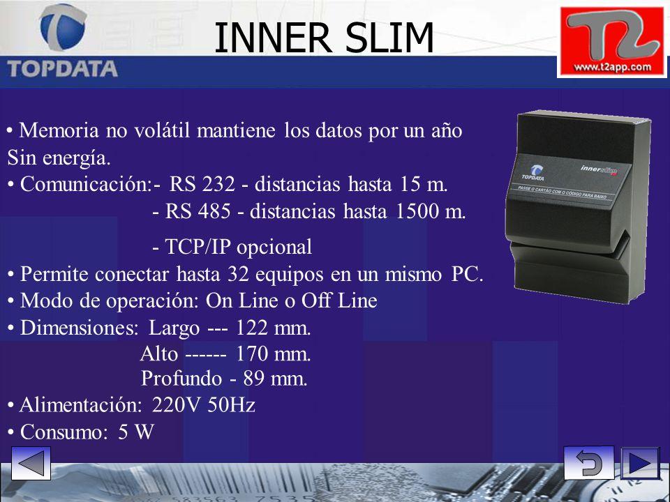 Sin energía.Comunicación:- RS 232 - distancias hasta 15 m.