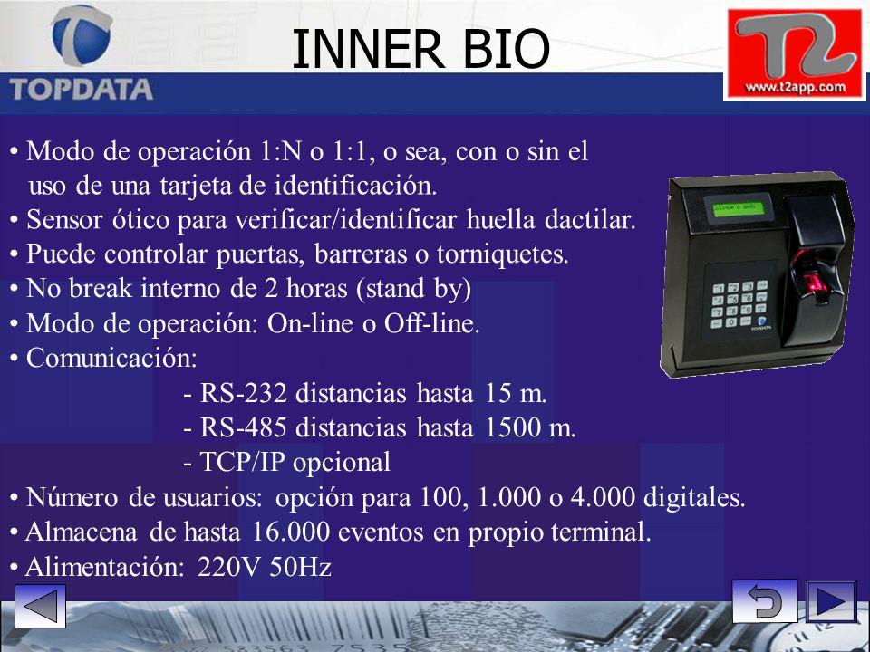 Sin energía. Comunicación:- RS 232 - distancias hasta 15 m. - RS 485 - distancias hasta 1500 m. - TCP/IP opcional Permite conectar hasta 32 equipos en