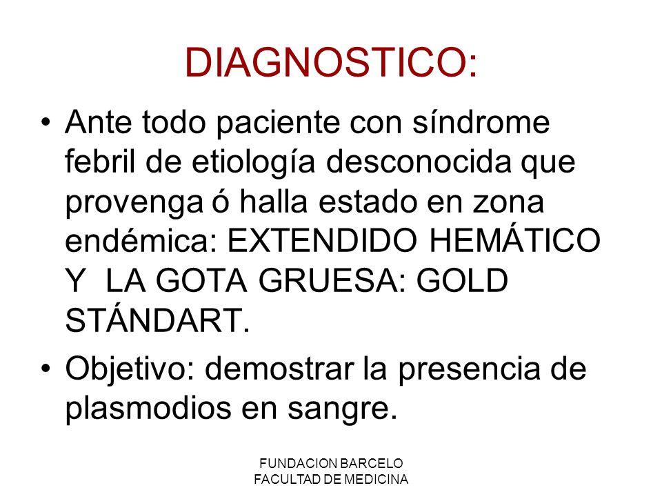 FUNDACION BARCELO FACULTAD DE MEDICINA DIAGNOSTICO: Ante todo paciente con síndrome febril de etiología desconocida que provenga ó halla estado en zon