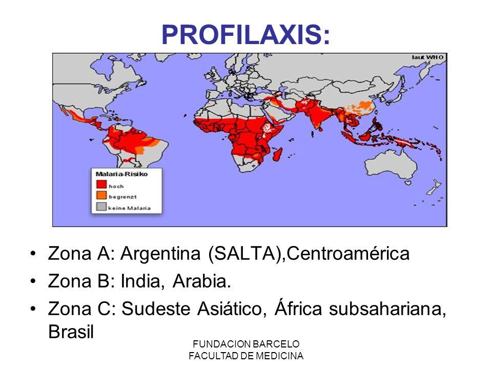 FUNDACION BARCELO FACULTAD DE MEDICINA PROFILAXIS: Zona A: Argentina (SALTA),Centroamérica Zona B: India, Arabia. Zona C: Sudeste Asiático, África sub