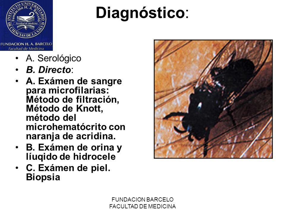 FUNDACION BARCELO FACULTAD DE MEDICINA Diagnóstico: A. Serológico B. Directo: A. Exámen de sangre para microfilarias: Método de filtración, Método de