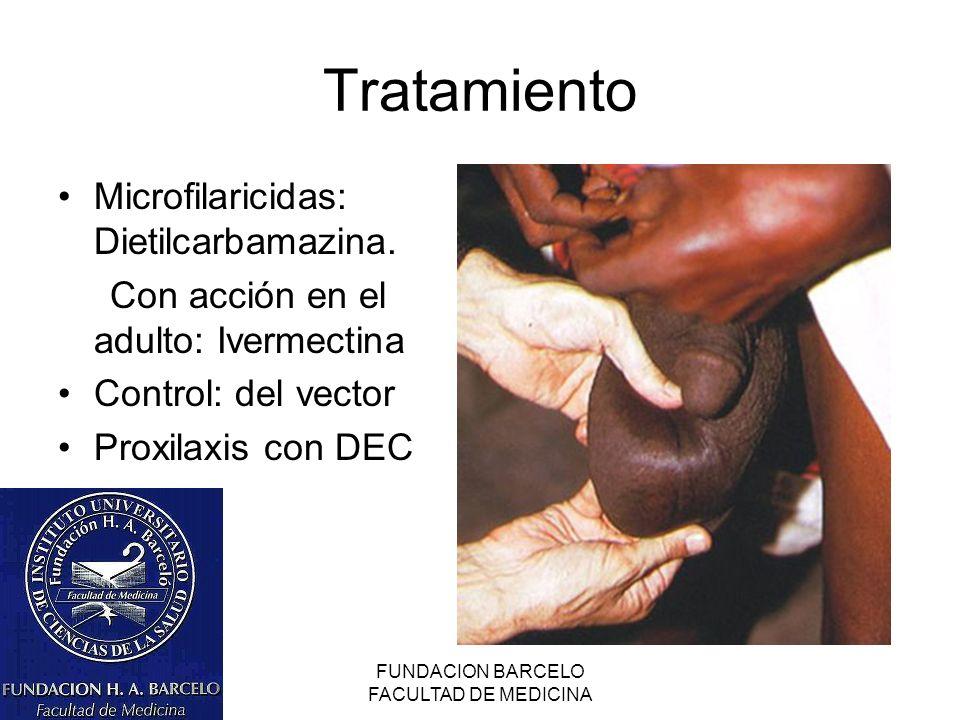FUNDACION BARCELO FACULTAD DE MEDICINA Tratamiento Microfilaricidas: Dietilcarbamazina. Con acción en el adulto: Ivermectina Control: del vector Proxi