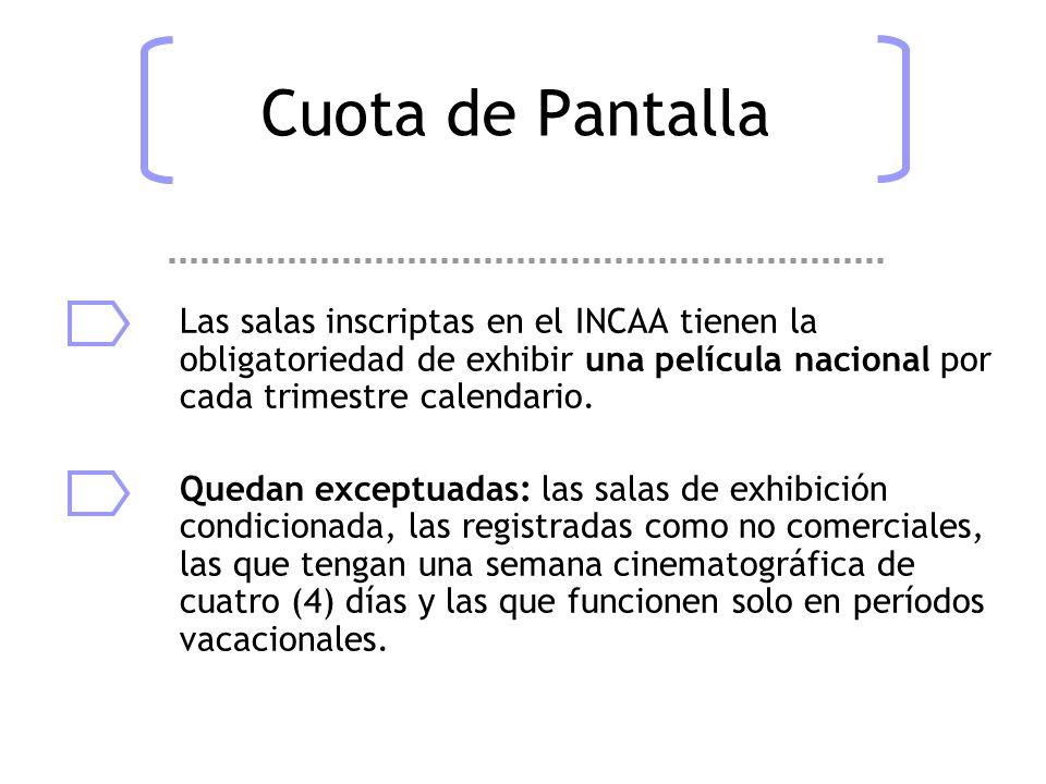 Cuota de Pantalla Las salas inscriptas en el INCAA tienen la obligatoriedad de exhibir una película nacional por cada trimestre calendario.