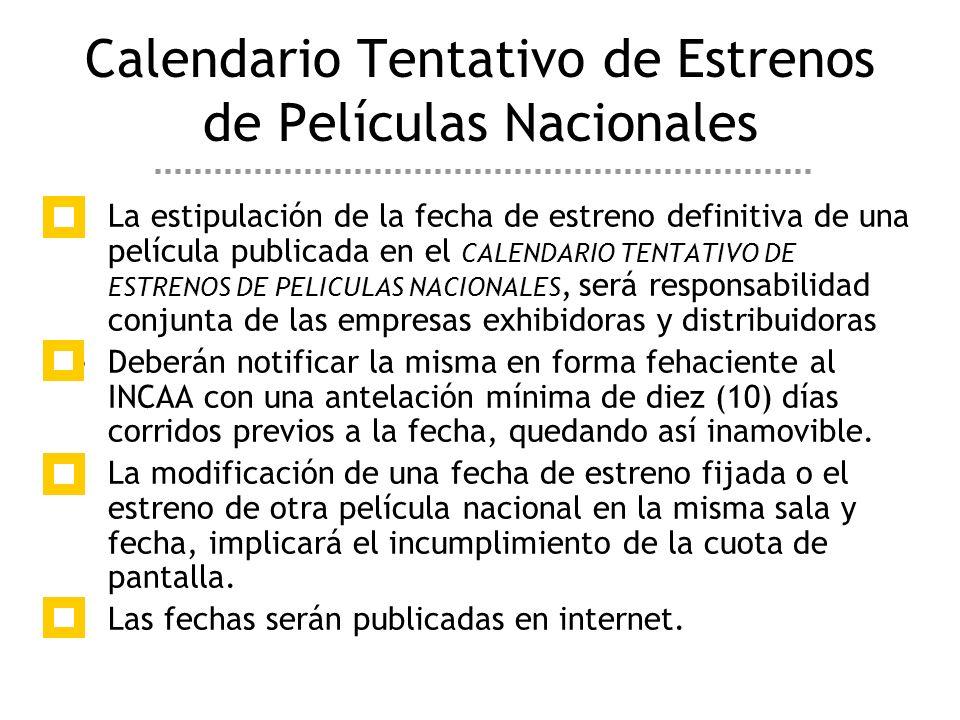 La estipulación de la fecha de estreno definitiva de una película publicada en el CALENDARIO TENTATIVO DE ESTRENOS DE PELICULAS NACIONALES, será responsabilidad conjunta de las empresas exhibidoras y distribuidoras Deberán notificar la misma en forma fehaciente al INCAA con una antelación mínima de diez (10) días corridos previos a la fecha, quedando así inamovible.