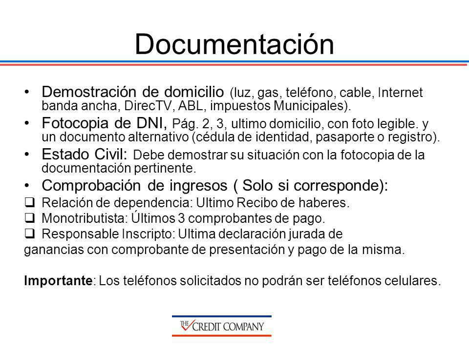 Documentación Demostración de domicilio (luz, gas, teléfono, cable, Internet banda ancha, DirecTV, ABL, impuestos Municipales). Fotocopia de DNI, Pág.