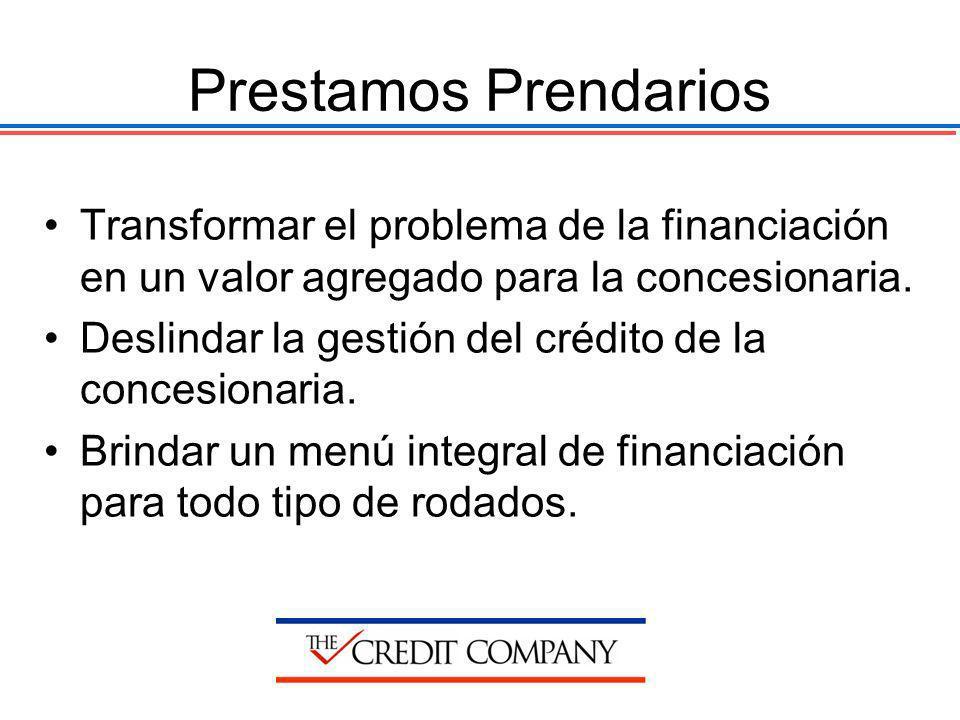 Prestamos Prendarios Transformar el problema de la financiación en un valor agregado para la concesionaria. Deslindar la gestión del crédito de la con