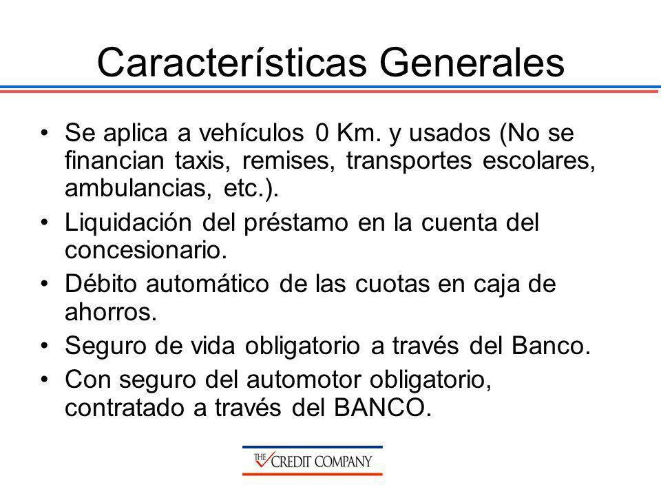 Características Generales Se aplica a vehículos 0 Km. y usados (No se financian taxis, remises, transportes escolares, ambulancias, etc.). Liquidación