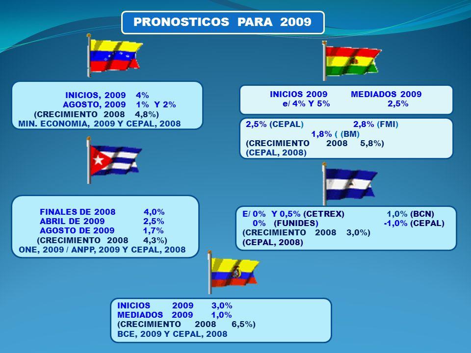 PRONOSTICOS PARA 2009 FINALES DE 2008 4,0% ABRIL DE 2009 2,5% AGOSTO DE 2009 1,7% (CRECIMIENTO 2008 4,3%) ONE, 2009 / ANPP, 2009 Y CEPAL, 2008 INICIOS, 2009 4% AGOSTO, 2009 1% Y 2% (CRECIMIENTO 2008 4,8%) MIN.