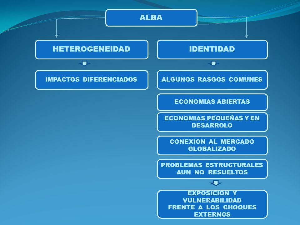 ALBA HETEROGENEIDADIDENTIDAD ALGUNOS RASGOS COMUNES ECONOMIAS ABIERTAS ECONOMIAS PEQUEÑAS Y EN DESARROLO CONEXION AL MERCADO GLOBALIZADO PROBLEMAS ESTRUCTURALES AUN NO RESUELTOS EXPOSICION Y VULNERABILIDAD FRENTE A LOS CHOQUES EXTERNOS IMPACTOS DIFERENCIADOS
