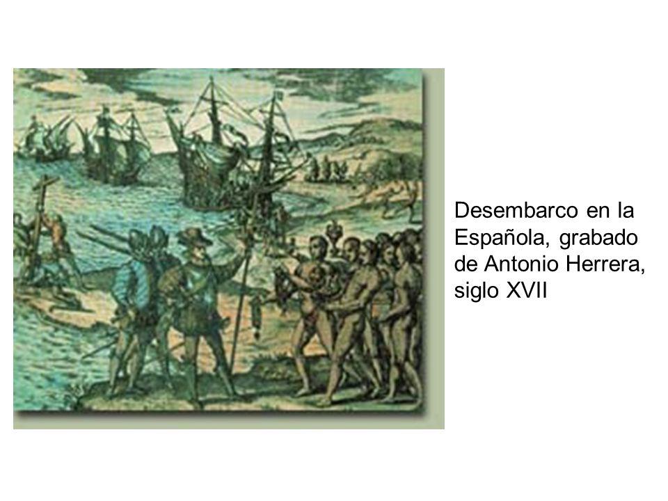 Desembarco en la Española, grabado de Antonio Herrera, siglo XVII
