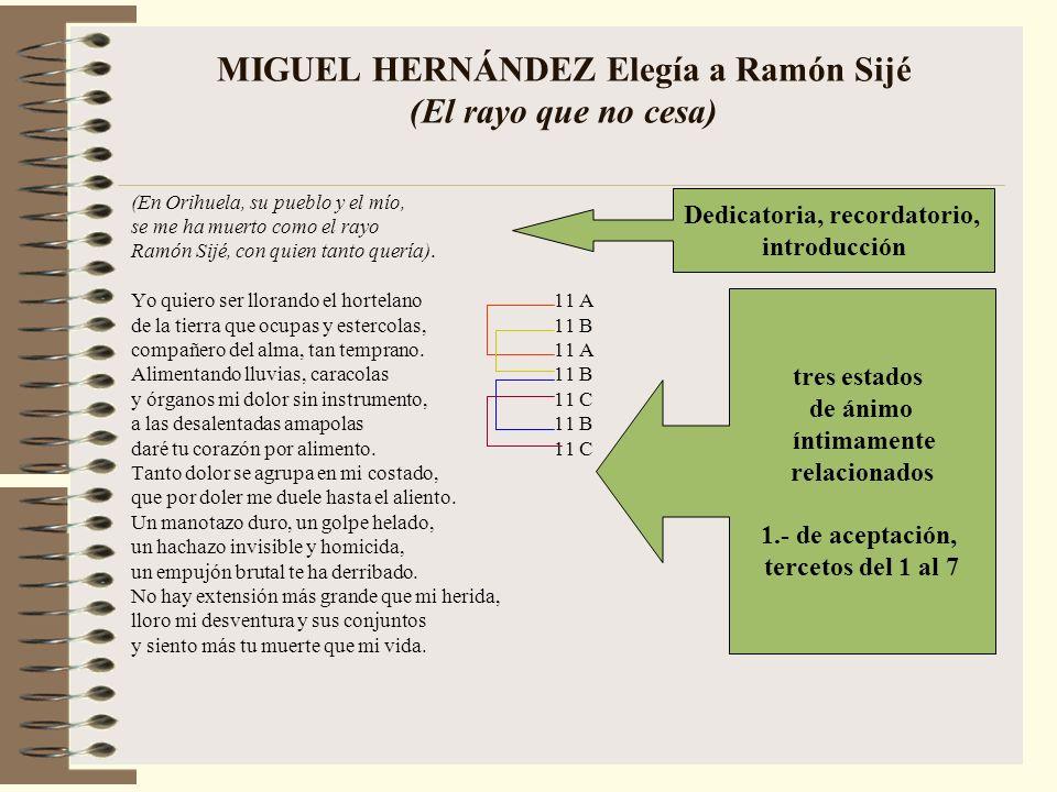 MIGUEL HERNÁNDEZ Elegía a Ramón Sijé (El rayo que no cesa) (En Orihuela, su pueblo y el mío, se me ha muerto como el rayo Ramón Sijé, con quien tanto quería).