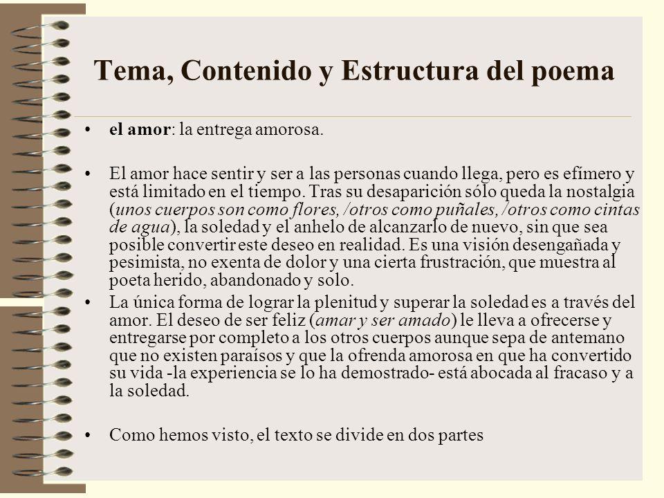 Tema, Contenido y Estructura del poema el amor: la entrega amorosa.