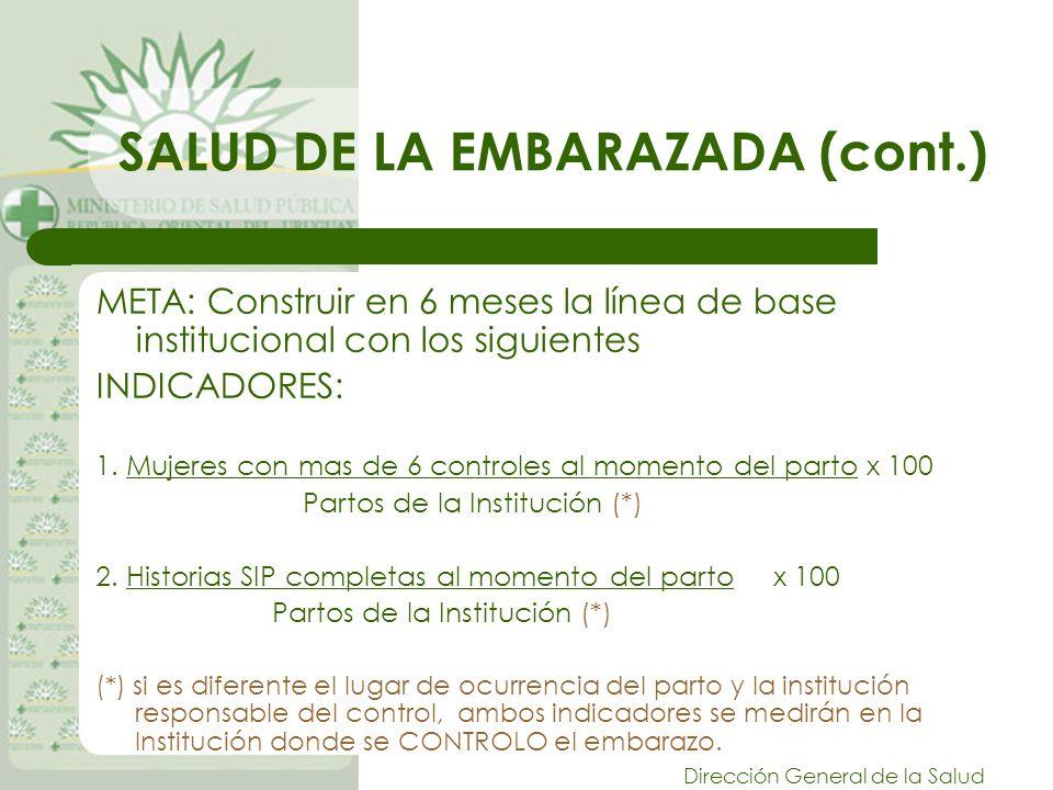 Dirección General de la Salud SALUD DE LA EMBARAZADA (cont.) META: Construir en 6 meses la línea de base institucional con los siguientes INDICADORES: 1.