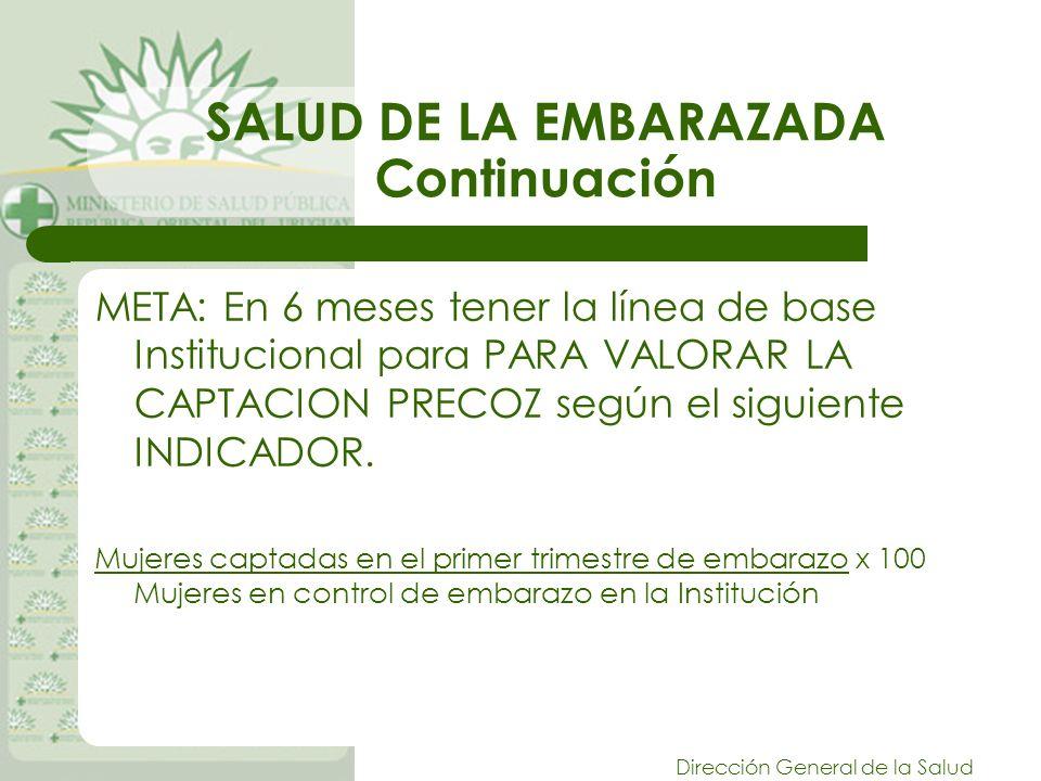 Dirección General de la Salud SALUD DE LA EMBARAZADA Continuación META: En 6 meses tener la línea de base Institucional para PARA VALORAR LA CAPTACION PRECOZ según el siguiente INDICADOR.