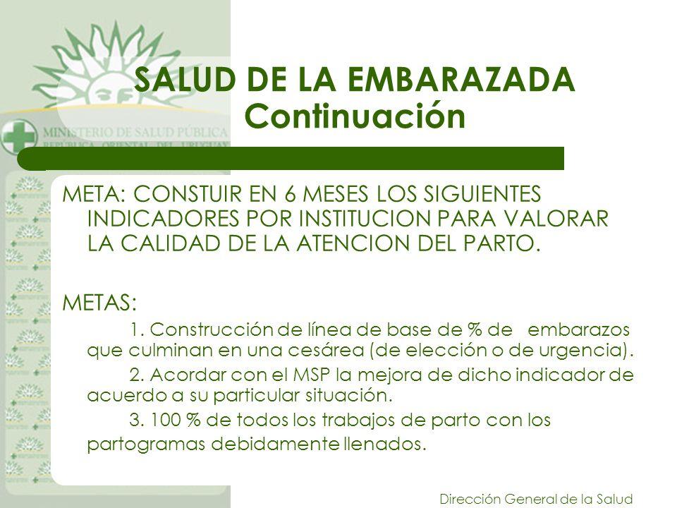 Dirección General de la Salud SALUD DE LA EMBARAZADA Continuación META: CONSTUIR EN 6 MESES LOS SIGUIENTES INDICADORES POR INSTITUCION PARA VALORAR LA CALIDAD DE LA ATENCION DEL PARTO.