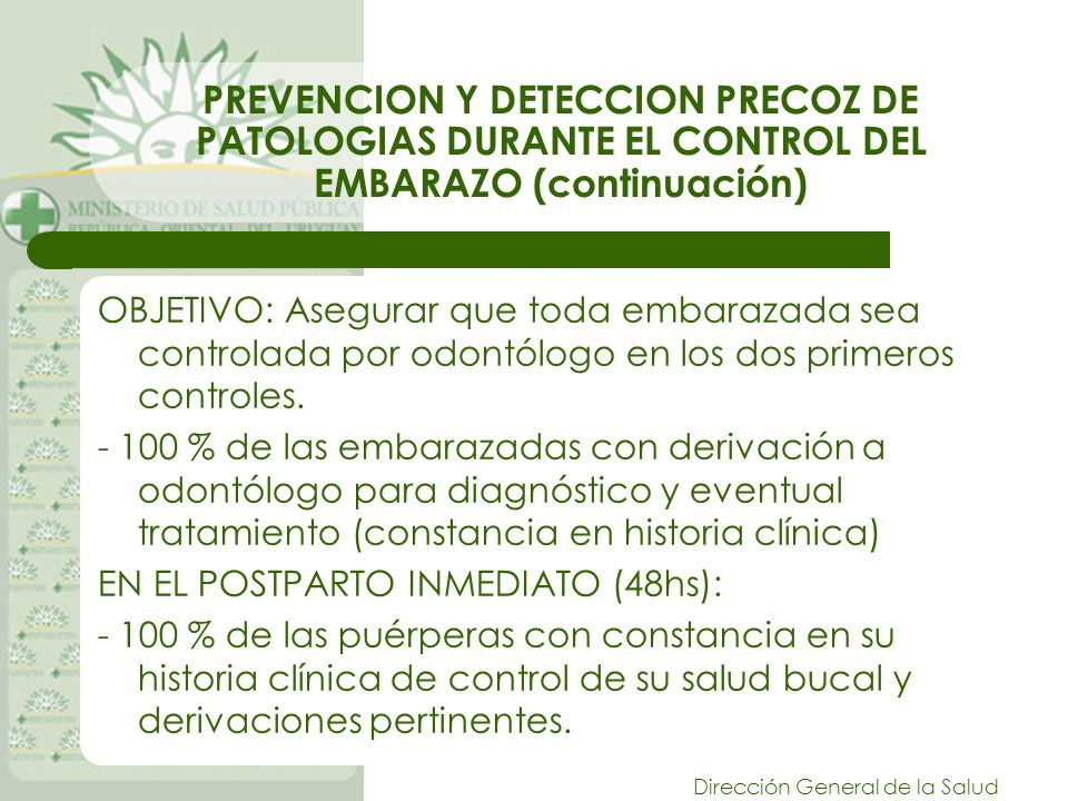 Dirección General de la Salud PREVENCION Y DETECCION PRECOZ DE PATOLOGIAS DURANTE EL CONTROL DEL EMBARAZO (continuación) OBJETIVO: Asegurar que toda embarazada sea controlada por odontólogo en los dos primeros controles.