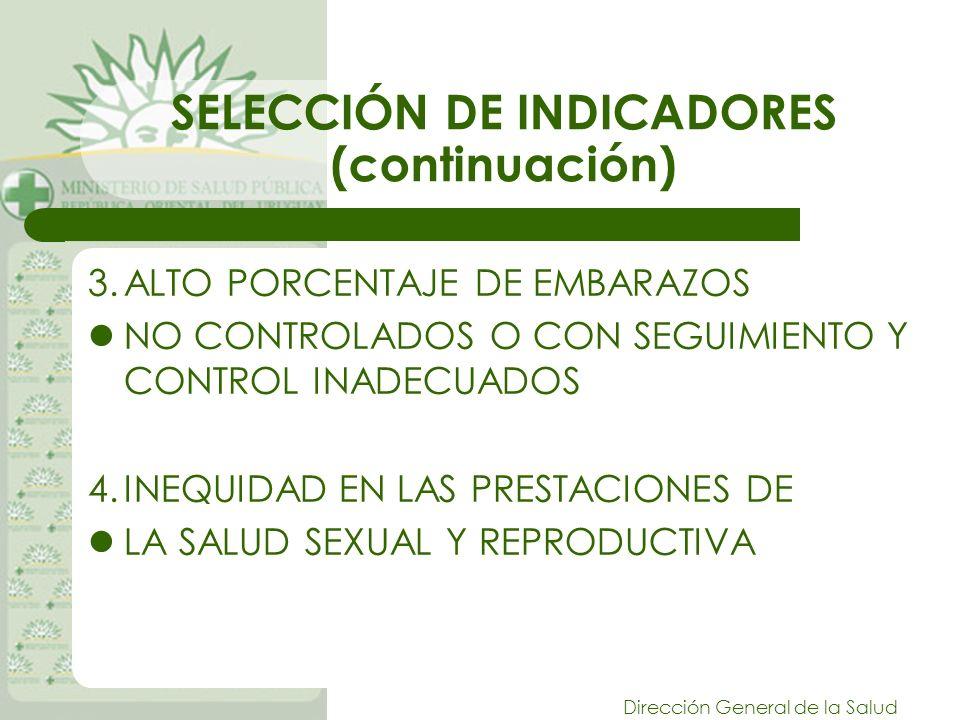 Dirección General de la Salud SELECCIÓN DE INDICADORES (continuación) 3.ALTO PORCENTAJE DE EMBARAZOS NO CONTROLADOS O CON SEGUIMIENTO Y CONTROL INADECUADOS 4.INEQUIDAD EN LAS PRESTACIONES DE LA SALUD SEXUAL Y REPRODUCTIVA