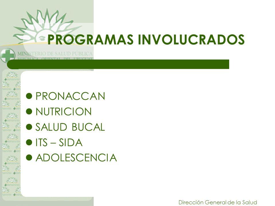 Dirección General de la Salud PROGRAMAS INVOLUCRADOS PRONACCAN NUTRICION SALUD BUCAL ITS – SIDA ADOLESCENCIA