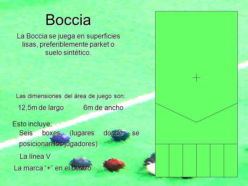 Boccia La Boccia se juega en superficies lisas, preferiblemente parket o suelo sintético. Las dimensiones del área de juego son: Esto incluye: 12,5m d