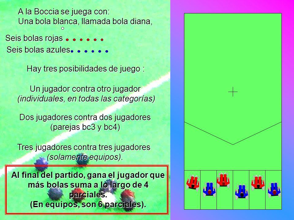 A la Boccia se juega con: Una bola blanca, llamada bola diana, Hay tres posibilidades de juego : Al final del partido, gana el jugador que más bolas s